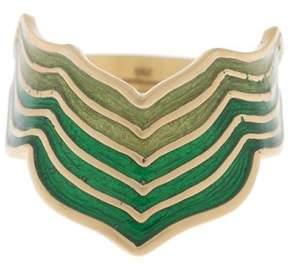 Amrapali 18K Yellow Gold with Green Enamel Ring