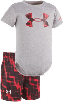Under Armour Baby Boy Graphic Logo Bodysuit & Geometric Shorts Set