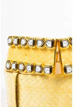 Judith Leiber Pre-owned Pale Yellow Snakeskin Embellished Belt.