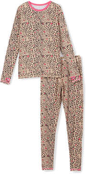 Cuddl Duds Leopard Hearts Comfortech Base Layer Top & Leggings - Girls