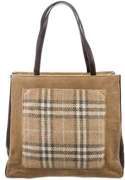 Burberry Leather-Trimmed Corduroy Tote - BROWN - STYLE