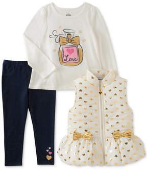 Kids Headquarters 3-Pc. Hearts Vest, T-Shirt & Denim Leggings Set, Toddler Girls (2T-5T)