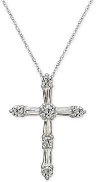 Arabella Sterling Silver White Swarovski Zirconia Cross Pendant Necklace (1-1/2 ct. t.w.)