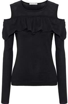Autumn Cashmere Cold-Shoulder Ruffle-Trimmed Cotton Sweater