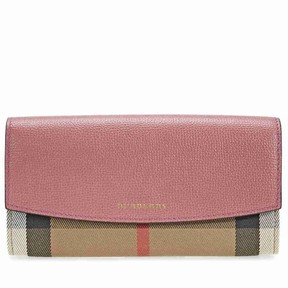 Burberry House Check and Leather Continental Wallet - Mauve Pink - ONE COLOR - STYLE