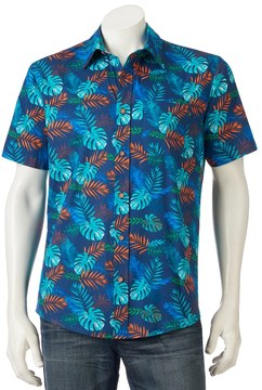 Ocean Current Men's Tropical Print Button-Down Shirt