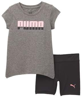 Puma Tee & Biker Shorts (Toddler Girls)