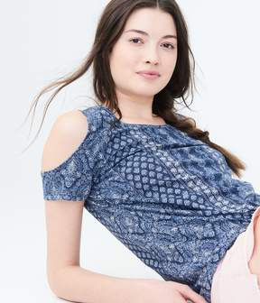 Aeropostale Seriously Soft Printed Cold-Shoulder Tee