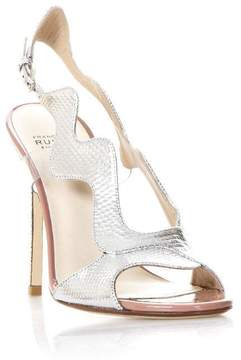 Francesco Russo Silver Waves Sandals In Leather