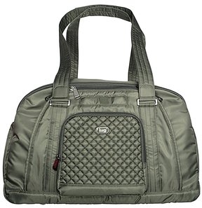 Olive Green Quilted-Accent Propeller Duffel Bag