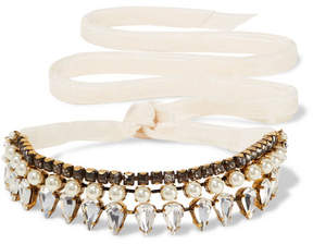 Erickson Beamon Born Again Gold-plated, Swarovski Crystal And Faux Pearl Choker - Ivory