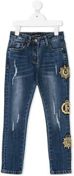 John Richmond Kids embroidered logo patch jeans