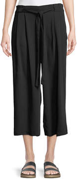 Dex Belted-Waist Cropped Palazzo Pants