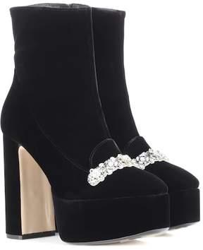 N°21 Embellished velvet ankle boots