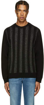Balmain Black and Silver Striped Sweater