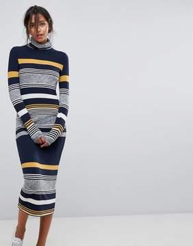Esprit Stripe High Neck Printed Midi Dress