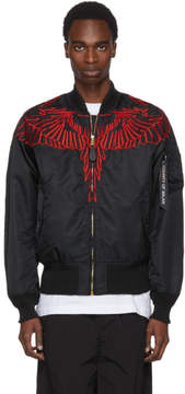 Marcelo Burlon County of Milan Black and Red Alpha Industries Edition Wing MA-1 Bomber Jacket