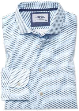 Charles Tyrwhitt Classic Fit Semi-Spread Collar Business Casual Diamond Print White and Blue Egyptian Cotton Dress Shirt Single Cuff Size 15.5/33