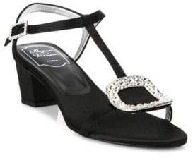 Roger Vivier Chips Crystal-Buckle Satin T-Strap Sandals