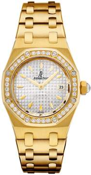 Audemars Piguet Royal Oak Diamond Silver Dial 18 kt Yellow Gold Ladies Watch