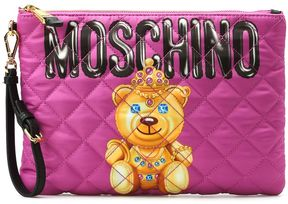 Moschino Jewel Bear Quilted Satin Clutch