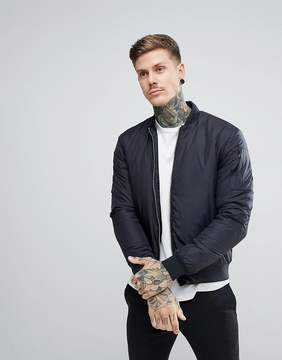 Penfield Thurman Quilted Bomber Jacket in Black