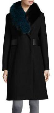 1 Madison Fox Fur Trim Coat