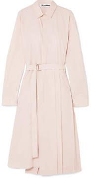 Jil Sander Pleated Cotton-poplin Shirt Dress - Pink