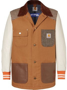 Junya Watanabe + Carhartt Corduroy-Trimmed Leather, Canvas And Tweed Chore Jacket