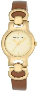 Anne Klein Goldtone Champagne Dial Brown Leather Strap Watch