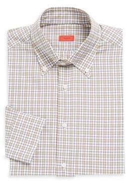 Isaia Plaid Cotton Dress Shirt