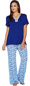 Carole Hochman Geo Fan Rayon Spandex Wide Leg Pant Pajama Set