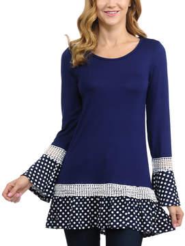 Celeste Navy Dot-Trim Bell-Sleeve Tunic - Women
