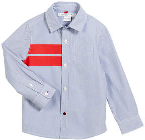 Givenchy Striped Button-Down Shirt w/ Red Details, Size 6-10