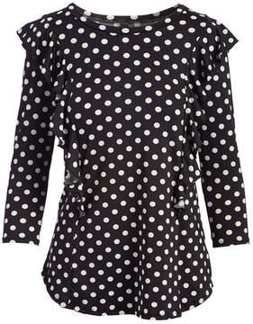 Celeste Black & White Dot Ruffled Three-Quarter Sleeve Top - Women