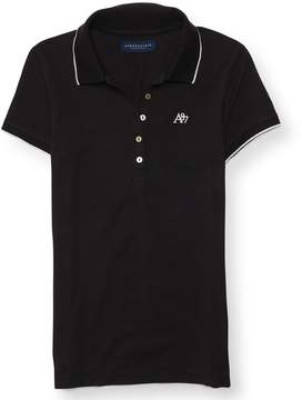 Aeropostale A87 Solid Tipped-Collar Pique Polo