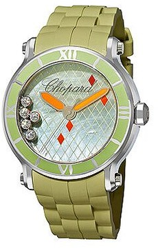 Chopard Happy Sport Green Mother Of Pearl Green Rubber Floating Diamonds Ladies Watch