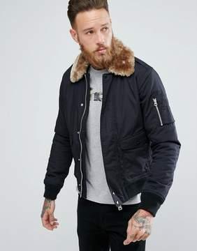Schott Air Bomber Jacket Detachable Faux Fur Collar Slim Fit in Black/Beige