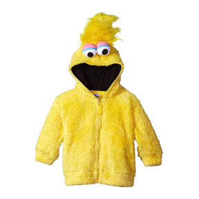 Asstd National Brand Sesame Street Toddler Girls Big Bird Costume Hoodie with Faux Fur and 3D Face