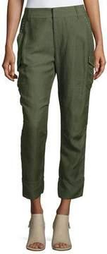 Derek Lam 10 Crosby Easy Cargo Pants with Grommets, Military
