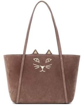 Charlotte Olympia Mini Feline suede shopper