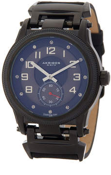 Akribos XXIV Men's Quartz Leather Strap Watch