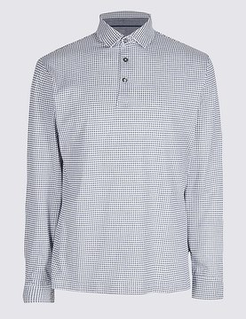 Marks and Spencer Pure Cotton Checked Polo Shirt
