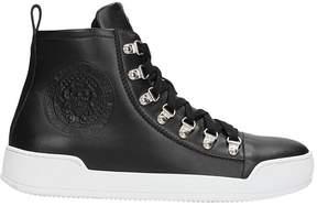 Balmain High Top Black Leather Sneakers