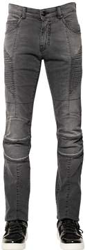 Pierre Balmain 15.5cm Faded Stretch Denim Biker Jeans