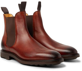 Edward Green Newmarket Burnished Pebble-Grain Leather Chelsea Boots