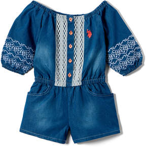 U.S. Polo Assn. Medium Wash Lace Embroidery Romper - Toddler & Girls