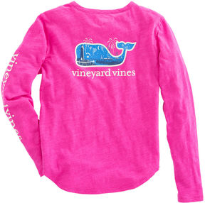 Vineyard Vines Girls Long-Sleeve Glow-in-the-Dark New Years Scene Tee