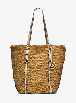 Michael Kors Large Studded Straw Shopper Tote - NATURAL - STYLE