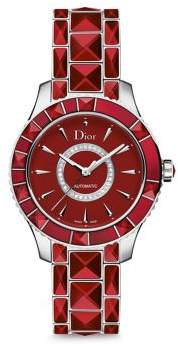 Christian Dior Christal Diamond, Red Sapphire Crystal & Stainless Steel Automatic Bracelet Watch